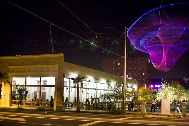 A E England Building the Giant Jellyfish and the YMCA Fair-Trade-Cafe-Grand-Opening-in-Civic-Space-Park